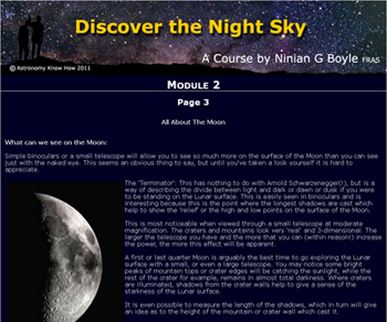 New online course - Discover the Night Sky